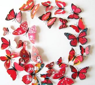 3d-vlinders-rood-gekleurd