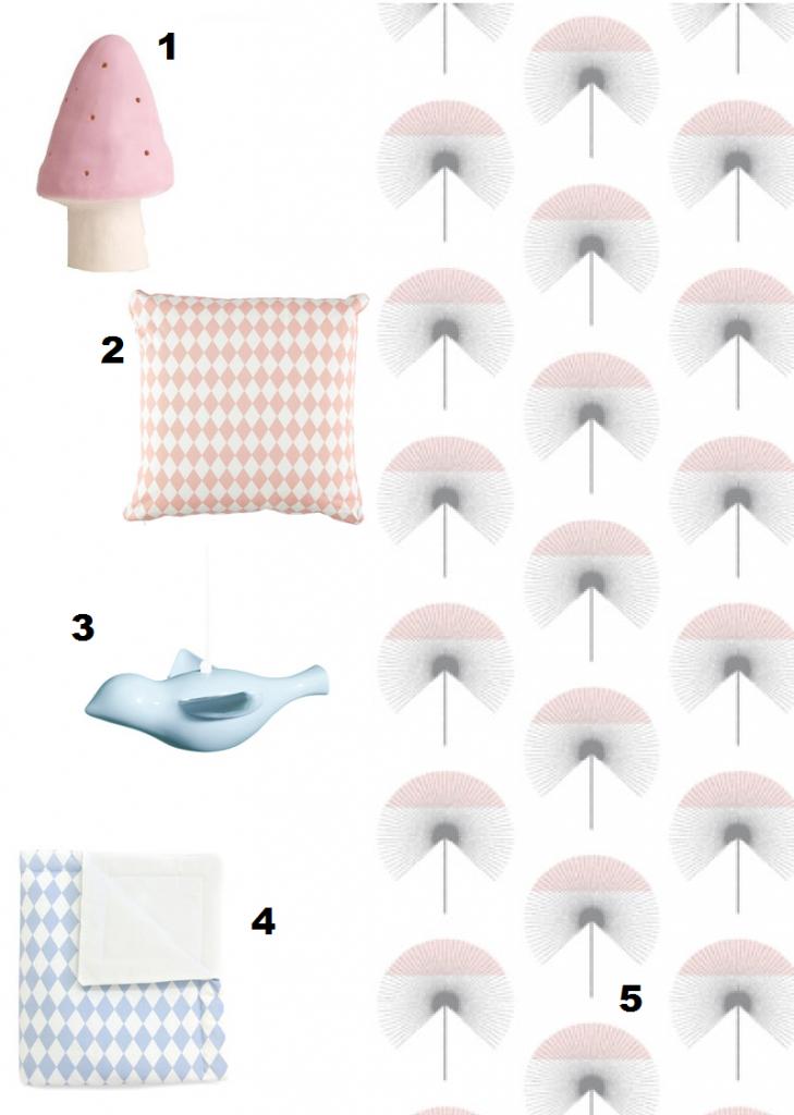 blauw roze babykamer