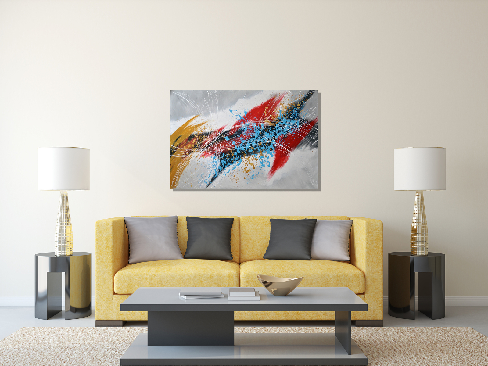 Modern Interieur Schilderij : Onvoltooide kruissteek onvoltooide interieur diy d diamant